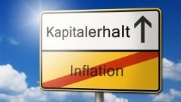 Kapitalerhalt statt Inflation Schild