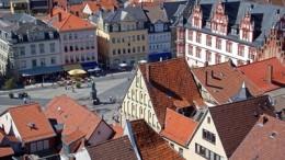 Coburg,Blick von Morizkirche auf Marktplatz