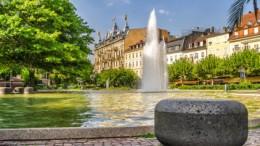 The central city fountain. Germany, Baden-Baden.