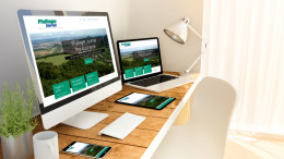 Digital generated devices over a wooden table with blog magazine responsive concept. All screen graphics are made up.  3d rendering