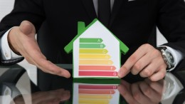 Cropped image of businessman showing energy efficient chart on house model in office