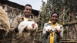Projektgebiet Borecha. Bäuerin Merdia Adem, 40, mit ihrem Sohn Tschebelluh Sutuma, 18,