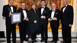 HAMBURG, GERMANY - FEBRUARY 02: Klaus Gruenther Wiesler, Jan Hofer, Madeleine Jakits, Ingo C. Peters, Hans Guenther Platz and Michael Blaeser during the Brillat Savarin Award ceremony at Fairmont Hotel Vier Jahreszeiten on February 2, 2018 in Hamburg, Germany. (Photo by Franziska Krug/Getty Images for Fairmont Hotel Vier Jahreszeiten Hamburg)