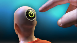Hand is pushing a power button located on the head of a man. Inclueded clipping path to separate main objects from background. Digital illustration.