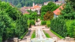 "Cascade Fountain ""Water Paradise"" in Baden-Baden. Europe. Germany . Horizontal image"