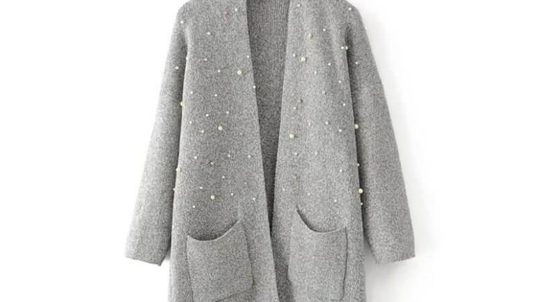 596192b19eb0b4 IVDIH Damen Dicke Strickjacke mit Perlen Warm Strickmantel Herbst Winter  Lang Elegant Cardigan-ICA19-
