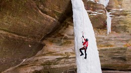 An ice climber on a frozen waterfall at Starved Rock State Park in Utica, IL. (release no. R20180120B, subject) Photo by Kevin J. Miyazaki/Redux