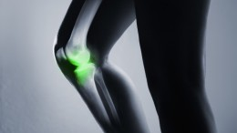 Human knee joint and leg in x-ray, on gray background. The knee joint is highlighted by green colour.