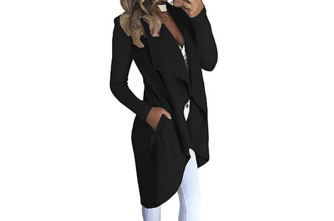 ITDIW Damen Cardigan Elegant Revers Strickjacke Lang Asymmetrisch Mantel mit Taschen-IWCA04-Schwarz-01
