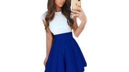 ITDIW Damen Kleid Elegant mit Spitze Casual Mini Kleider mit Gürtel Alltag A linie Cocktailkleid-IWKL01-Blau-01