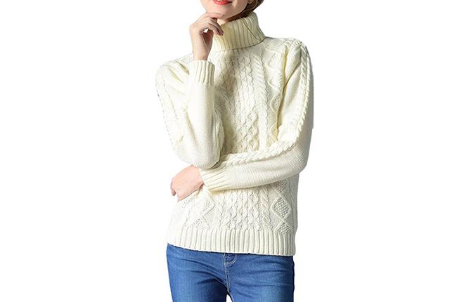 IVDIH Damen Rollkragenpullover Winter Baumwolle Grobstrick Pullover Weiß Rollkragen Strickpullover-IPU23-Weiß-01