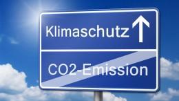 klimaschutz co2-emission schild