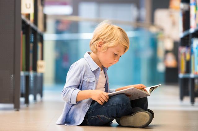 Kleiner Junge schaut in ein Bilderbuch