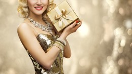 Vip Woman Present Gift Box, Retro Lady in Rich Gold Dress, Sparkling Diamonds Necklace, Luxury Holiday