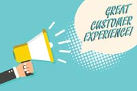 Word writing text Great Customer Experience. Business concept for responding to clients with friendly helpful way Man holding megaphone loudspeaker speech bubble blue background halftone
