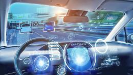 Cockpit of futuristic autonomous car.