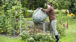 Eine Frau leert den Gartenmuell ueber dem Komposthaufen