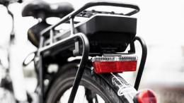 Hintere Perspektive eines E-Bikes